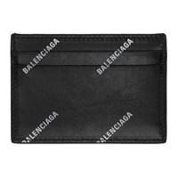 Balenciaga Black Allover Logo Card Holder
