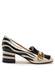 Gucci Marmont Fringed Zebra Applique Leather Loafers Black White