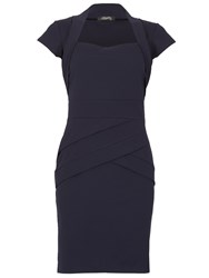 Feverfish Panel Bolero Scuba Crepe Dress Navy