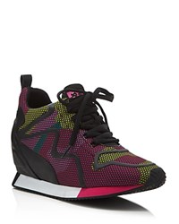 Ash Domino Wedge Sneakers Pink Yellow