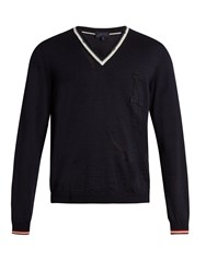 Lanvin L Applique Cotton And Wool Blend Sweater Navy