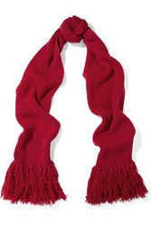 Red Valentino Fringed Ribbed Wool Scarf Red