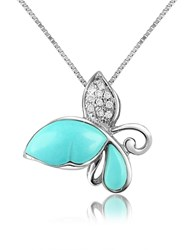Del Gatto Diamond Gemstone Butterfly 18K Gold Pendant Necklace Turquoise