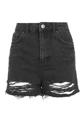 Topshop Tall Ripped Mom Short Washed Black