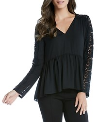 Karen Kane Lace Panel Peplum Top Black