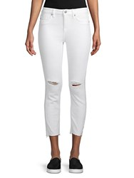Vigoss Mid Rise Straight Cropped Jeans White