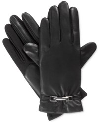 Isotoner Signature Smartouch Stretch Leather Belted Gloves Black
