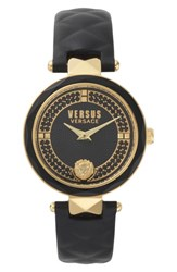 Versus By Versace 'S Covent Garden Crystal Accent Leather Strap Watch 36Mm Black Gold
