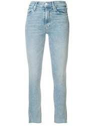 Mother Skinny Cutoff Jeans Blue