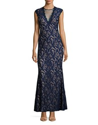 Betsy And Adam Back Cutout Lace Gown Navy Blush