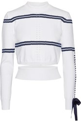Fendi Cutout Faille Trimmed Striped Pointelle Knit Sweater White
