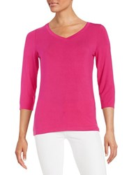 Lord And Taylor V Neck Tee Cosmopolitan Pink