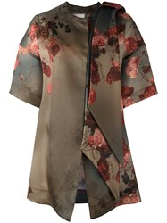 Antonio Marras Floral Print Shift Coat Green