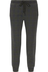 Current Elliott The Vintage Plaid Cotton Jersey Track Pants Green