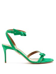 Aquazzura Passion Bow Embellished Suede Sandals Green