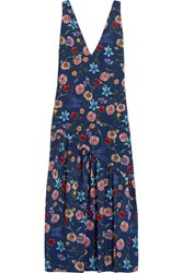 Borgo De Nor Lola Floral Print Crepe Chine Midi Dress Navy