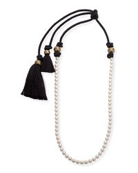 Lanvin Long Pearly Necklace With Tassel Ends 39.5' Pearl