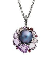 Stephen Dweck Pearl And Mixed Stone Pendant Necklace