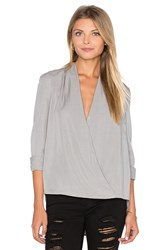 Blaque Label Faux Wrap Blouse Light Gray