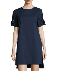 Marled By Reunited Clothing Short Sleeve Shift Dress W Grommets And Ties Navy