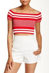 Lush Off The Shoulder Cropped Blouse Red