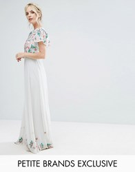 Frock And Frill Petite Premium Floral Embellished Top Maxi Dress Mint Green