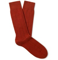 Anderson And Sheppard Ribbed Merino Wool Blend Socks Orange