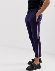 Burton Menswear Skinny Fit Suit Trousers With Taping Navy