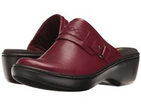 Clarks Delana Amber Red Leather Clog Shoes