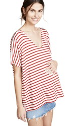 Hatch The Perfect Vee Tee Scarlet Ivory Stripe