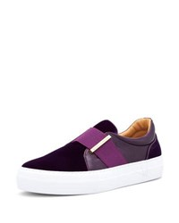Buscemi 40 Mm Band Quincy Leather And Velvet Slip On Sneaker Purple