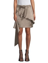 Each X Other Linen Blend Asymmetric Khaki Mini Skirt