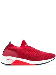 Diesel Slip On Knit Trainers Red