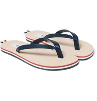 Thom Browne Leather Flip Flops Blue