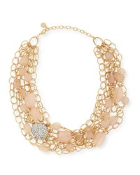 Rj Graziano Layered Chain And Bead Bib Necklace R.J. Graziano Gold Blush Clear