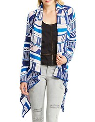 Jessica Simpson Draped Open Front Tribal Cardigan Blue Stripe