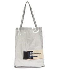 Rick Owens Drkshdw Photographic Patch Metallic Cotton Tote Bag Silver