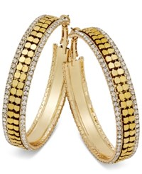 Thalia Sodi Gold Tone Metal Mesh And Crystal Hoop Earrings Only At Macy's Saffron