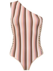 Amir Slama One Shoulder Swimsuit Brown