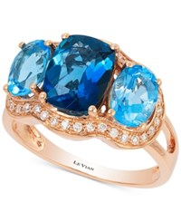 Le Vian Blue Topaz 3 9 10 Ct. T.W. And Diamonds 1 5 Ct. T.W. Ring In 14K Rose Gold