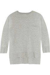 Frame Le Crew Wool And Cashmere Blend Sweater Light Gray
