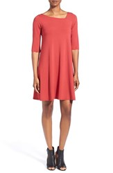 Women's Eileen Fisher Asymmetrical Neck Jersey Dress Red Saffron