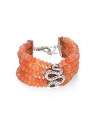 John Hardy Legends Cobra Batu Peach Moonstone Citrine And Sterling Silver Multi Strand Beaded Bracelet