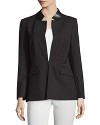 Lafayette 148 New York Yumiko Leather Trim Open Jacket Black