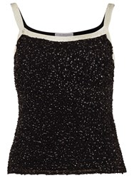 Gina Bacconi Sequin Cami With Contrast Bands Black Cream