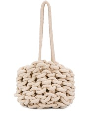 Alienina Chunky Knit Tote Bag White