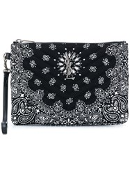 Saint Laurent Paisley Print Clutch Black