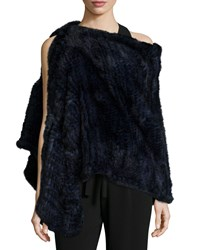 Halston Convertible Rabbit Fur Poncho Navy