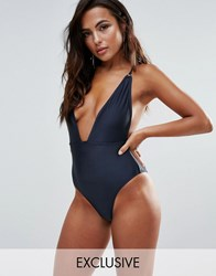 Wolf And Whistle B F Cup Navy Shimmer Plunge Swimsuit Navy Shimmer Green