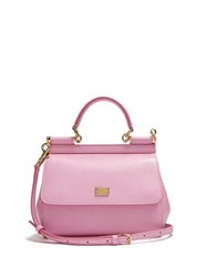 Dolce And Gabbana Sicily Small Dauphine Leather Bag Light Pink